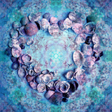 Photographic Layer Work of a Heart from Seashells and Floral Ornaments in Blue Lavender Tones Photographic Print by Alaya Gadeh