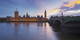 River Thames, Westminster Bridge, Westminster Palace, Big Ben, in the Evening Photographic Print by Rainer Mirau