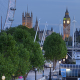River Thames Shore, in the Evening, Westminster Palace, Big Ben, London Eye Photographic Print by Rainer Mirau