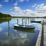 Germany, Brandenburg, Himmelpfort, Moderfitzsee, Jetty, Rowing Boats Photographic Print by Andreas Vitting