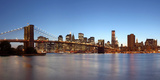 USA, New York City, Manhattan, Brooklyn Bridge, View from Brooklyn, Evening, Panorama Photographic Print by Catharina Lux