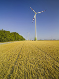 Wind Turbine in the Vienna Basin, Near Fischamend, Lower Austria, Austria Photographic Print by Rainer Mirau