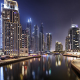Modern High Rises, Dubai Marina by Night, Dubai, United Arab Emirates, the Middle East Photographic Print by Axel Schmies
