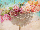 A Dreamy Romantic Floral Montage of a Pon Pon Dahlia with Roses, Photography, Many Layer Work Fotoprint av Alaya Gadeh