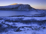 Norway, Telemark, Moonrise over the Heddersfjell in Winter Photographic Print by Andreas Keil