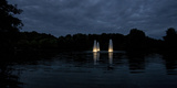 Night Photography Lake with Illuminated Water Fountains Photographic Print by Benjamin Engler
