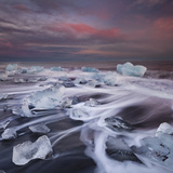 Ice Chunks on the Beach Next to Glacial River Lagoon Jškuls‡rlon (Lake), East Iceland, Iceland Photographic Print by Rainer Mirau