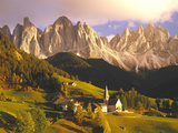 Italy, South Tyrol, VillnTal, St. Magdalena, Mountains, 'Geislerspitzen', Autumn Photographic Print by  Thonig