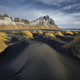 Black Sand, Kambhorn (Mountain), Stokksnes (Headland), Hornsvik (Lake), East Iceland, Iceland Photographic Print by Rainer Mirau