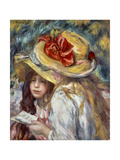 Young Girls with Hats Poster by Pierre Auguste Renoir