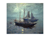 Boats at Night Print by William Ritschel