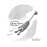 """Super Fly"" -- A fly carries a frog by the tongue through the air.  - New Yorker Cartoon Premium Giclee Print by Liam Walsh"