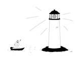 Fishman disco dances in the light of a lighthouse with a disco ball. - New Yorker Cartoon Premium Giclee Print by Seth Fleishman