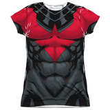 Juniors: Batman- Nightwing Red Uniform Costume Tee T-Shirt