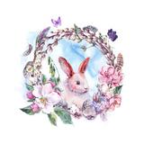 Watercolor Spring Happy Easter Wreath Poster by Varvara Kurakina