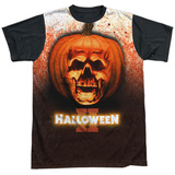 Halloween II- Pumpkin Skull Black Back T-shirts