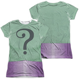 Juniors: Batman Classic TV- Riddler Uniform Costume Tee (Front/Back) T-Shirt