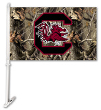 NCAA South Carolina Gamecocks Realtree Camo Car Flag with Wall Bracket Flag