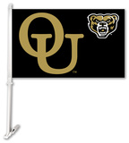 NCAA Oakland Golden Grizzlies Car Flag with Wall Bracket Flag