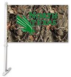 NCAA North Texas Mean Green Realtree Camo Car Flag with Wall Bracket Flag