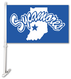 NCAA Indiana State Sycamores Car Flag with Wall Bracket Flag