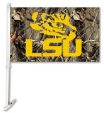 NCAA LSU Tigers Realtree Camo Car Flag with Wall Bracket Flag