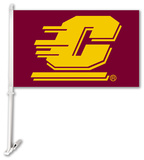 NCAA Central Michigan Chippewas Car Flag with Wall Bracket Flag