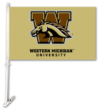 NCAA Western Michigan Broncos Car Flag with Wall Bracket Flag