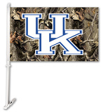 NCAA Kentucky Wildcats Realtree Camo Car Flag with Wall Bracket Flag