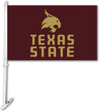 NCAA Texas State Bobcats Car Flag with Wall Bracket Flag