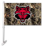 NCAA Arkansas State Red Wolves Realtree Camo Car Flag with Wall Bracket Flag