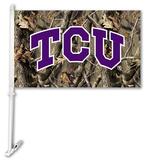 NCAA Texas Christian Horned Frogs Realtree Camo Car Flag with Wall Bracket Flag