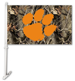 NCAA Clemson Tigers Realtree Camo Car Flag with Wall Bracket Flag