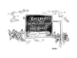 "Road sign reading ""Entering ""So, what are your kids doing?"" Formerly Brook - New Yorker Cartoon Premium Giclee Print by Ken Krimstein"