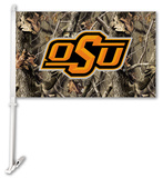 NCAA Oklahoma State Cowboys Realtree Camo Car Flag with Wall Bracket Flag