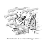 """For extra protection, this one is armed with a tiny gun of its own."" - New Yorker Cartoon Premium Giclee Print by Benjamin Schwartz"