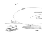 A truck emblazoned with 'lostluggage.com' drives past a taxied airplane. - New Yorker Cartoon Premium Giclee Print by Jack Ziegler