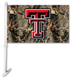NCAA Texas Tech Red Raiders Realtree Camo Car Flag with Wall Bracket Flag