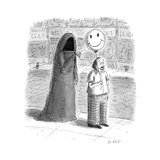 The Grim Reaper popping a smiley face balloon a man is holding. - New Yorker Cartoon Premium Giclee Print by Roz Chast