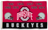 NCAA Ohio State Buckeyes Championship Years Flag w/Grommets Flag