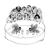A cockfight scene, but the cocks are speaking at podiums in a debate.  - New Yorker Cartoon Premium Giclee Print by Edward Steed