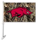 NCAA Arkansas Razorbacks Realtree Camo Car Flag with Wall Bracket Flag