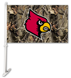 NCAA Louisville Cardinals Realtree Camo Car Flag with Wall Bracket Flag