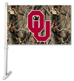 NCAA Oklahoma Sooners Realtree Camo Car Flag with Wall Bracket Flag