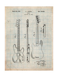 Fender Precision Bass Guitar Patent Posters by Cole Borders