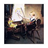 The Artist's Daughter (or Little Girl with Palette at Easel) Reproduction procédé giclée par Norman Rockwell