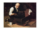 Grandpa's Gift (or Grandfather Varnishing the Cradle; Up in the Garret) Giclee Print by Norman Rockwell