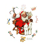 Santa's Visitors Giclee Print by Norman Rockwell