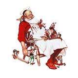 Santa and Helpers Giclée-Druck von Norman Rockwell