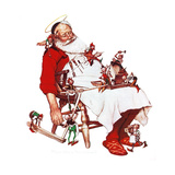 Santa and Helpers Giclee Print by Norman Rockwell